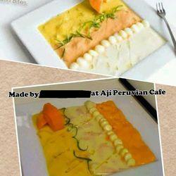 Comparison photo of Latin Bites dish and Aji Peruvian Cafe's.