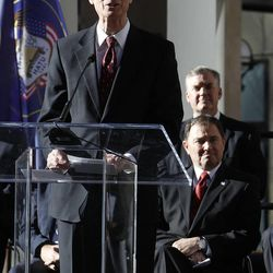 Henry B. Eyring, First Counselor in the First Presidency of The Church of Jesus Christ of Latter-day Saints, speaks as City Creek Center opens in Salt Lake City, Thursday, March 22, 2012.
