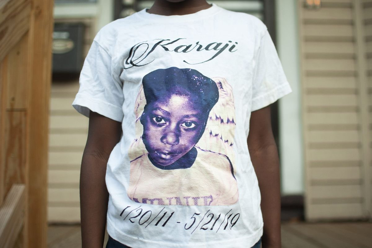 Amayi Jones wears a shirt that memorializes her twin sister, Karaji, who died after a severe asthma attack in May.