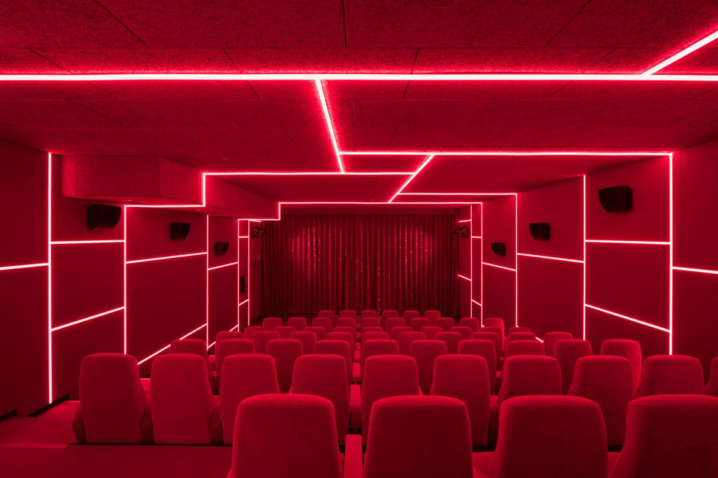 Theater with red fluorescent lights