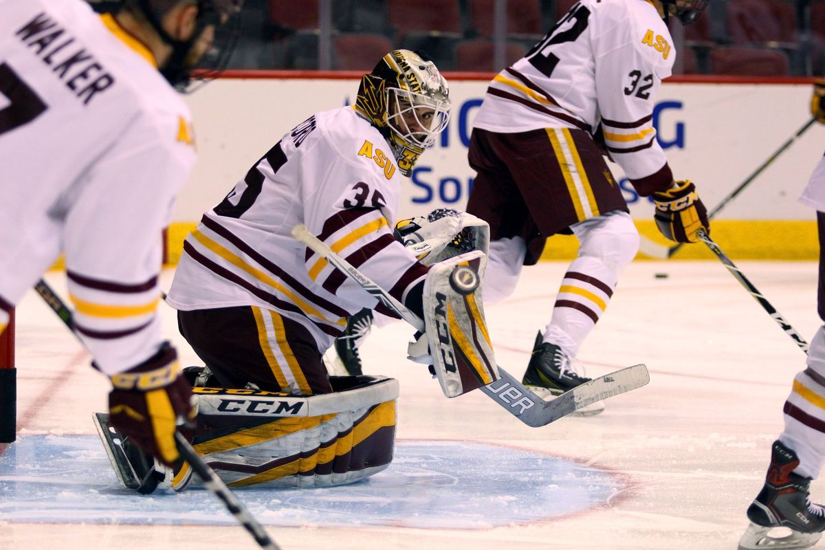 asu hockey: daccord shines in 4-0 shutout win against princeton