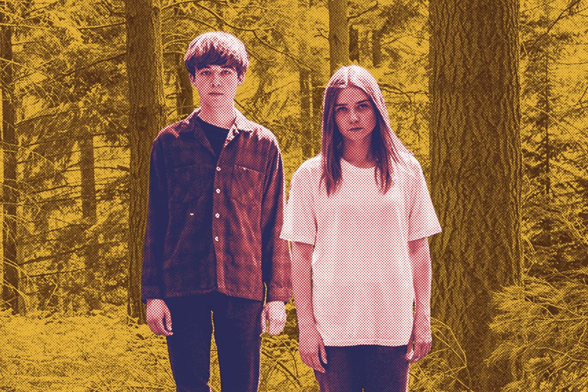 Alex Lawther and Jessica Barden standing in the woods in 'The End of the F***ing World'