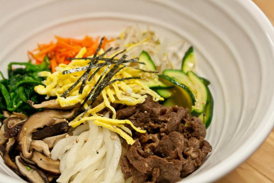 Beef bulgogi with vegetables in a white bowl.