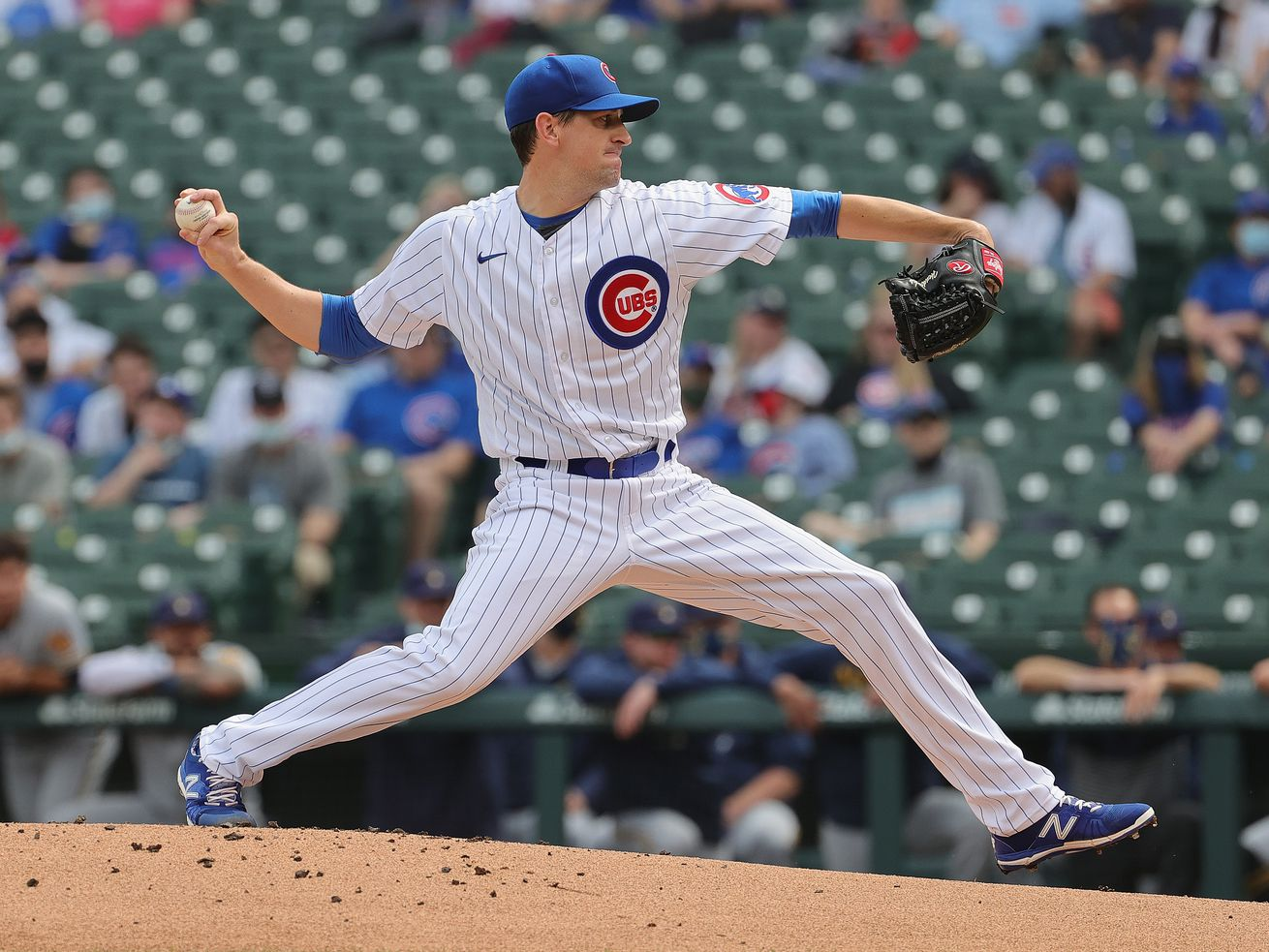 Cubs starter Kyle Hendricks (28) pitched six shutout innings against the Brewers on Wednesday. He allowed four hits, walked one and struck out six.