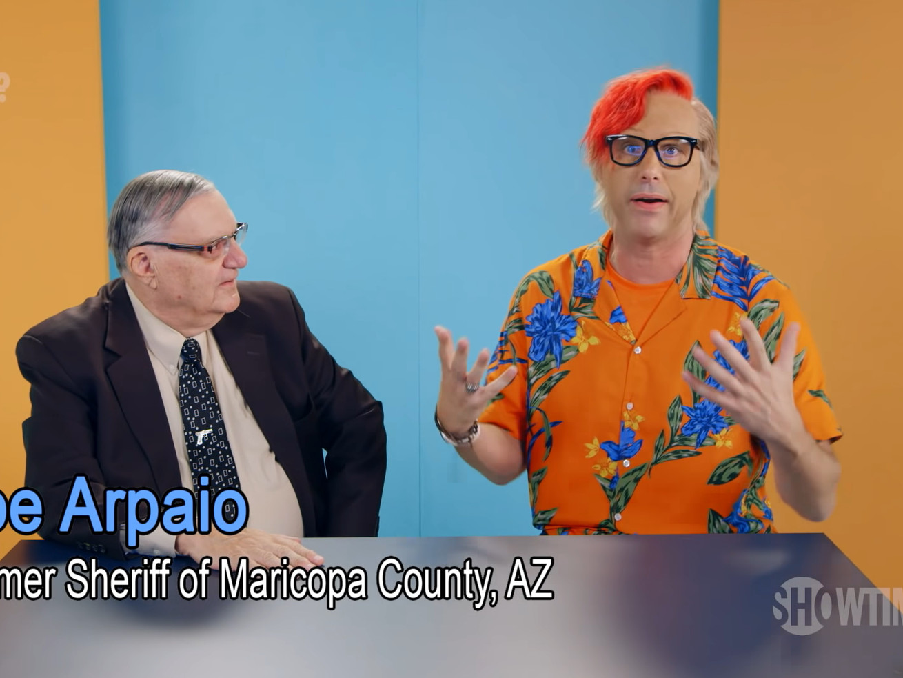 Joe Arpaio meets Sacha Baron Cohen's YouTube unboxing character OMGWhizzBoyOMG.
