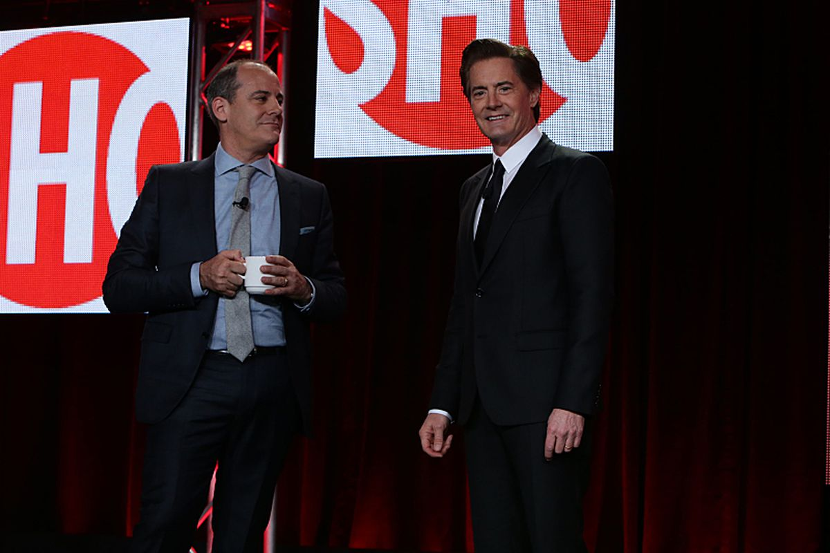 Showtime president David Nevins (left) is joined by Twin Peaks star Kyle MacLachlan to announce MacLachlan's deal to appear in the new season of the show.