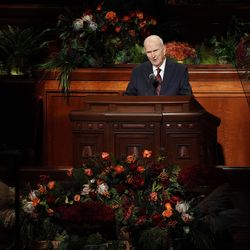 President Russell M. Nelson, president of The Church of Jesus Christ of Latter-day Saints, speaks during the 191st Semiannual General Conference at the Conference Center in Salt Lake City on Saturday, Oct. 2, 2021.