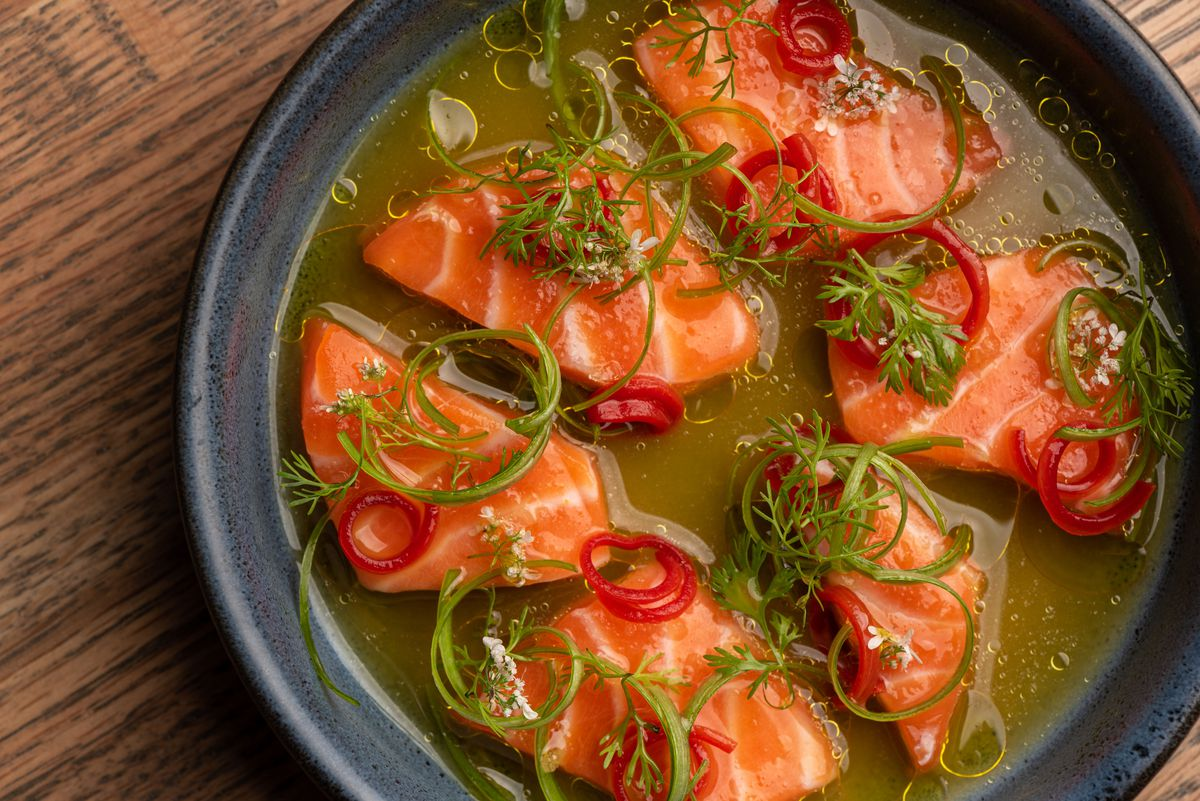 An overhead close-up of salmon crudo with lots of olive oil.
