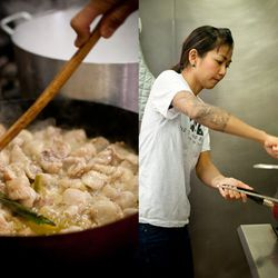 """While the chickens boil, Nong preps her """"chicken rice"""" in a skillet."""