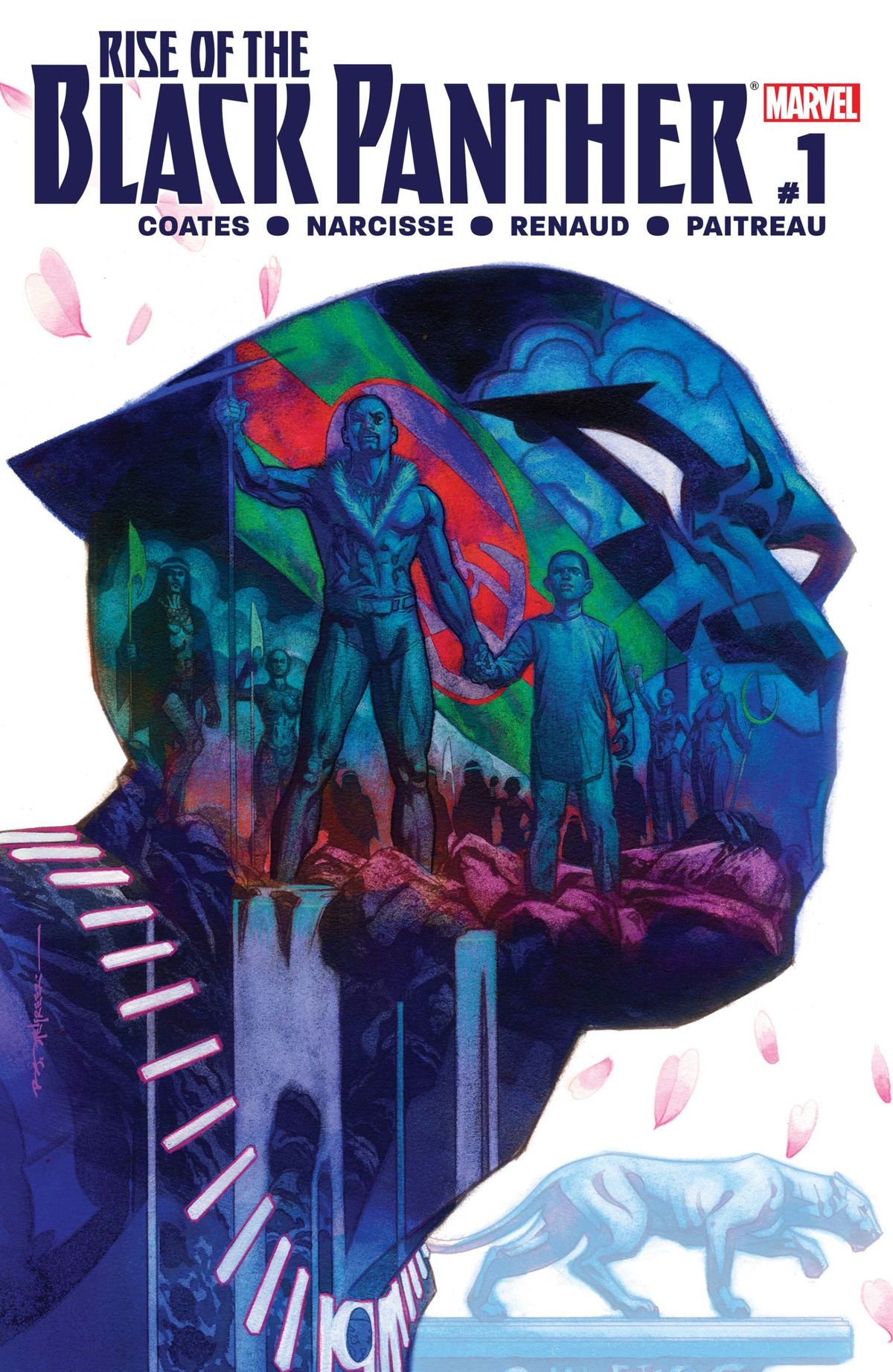 King T'chaka and prince T'challa stand on a waterfall, an image imposed over a silhouette of the head and shoulders of the Black Panther, on the cover of Rise of the Black Panther #1, Marvel Comics (2018).
