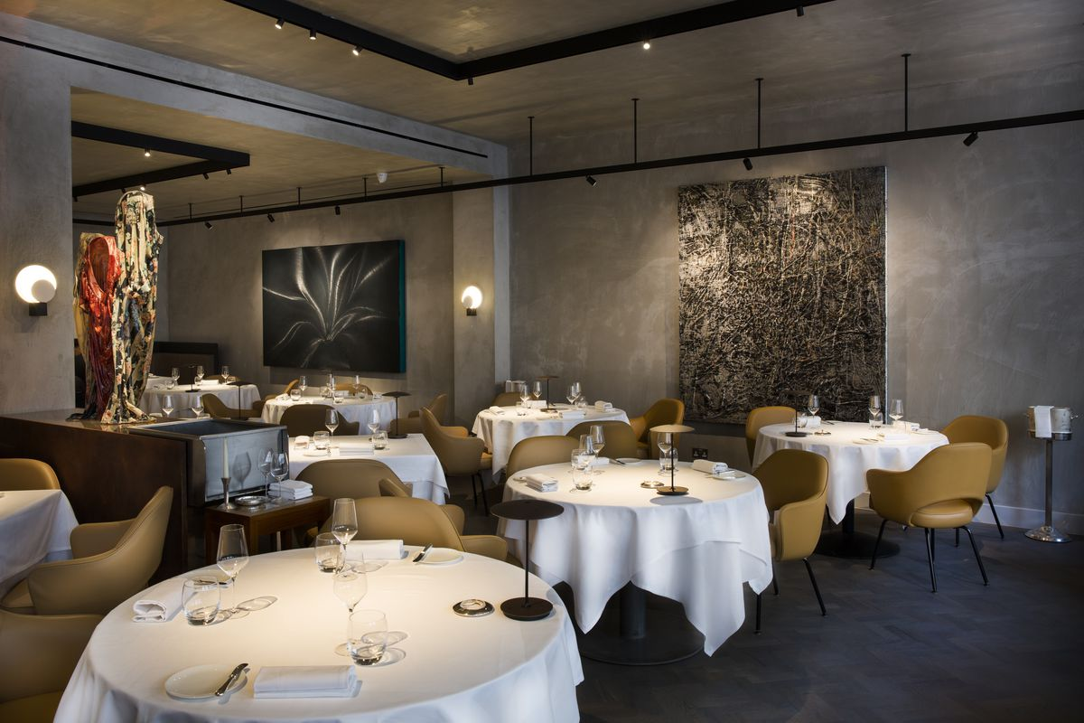 Michelin-starred Mayfair restaurant The Square's dining room, now closed down by bailiffs