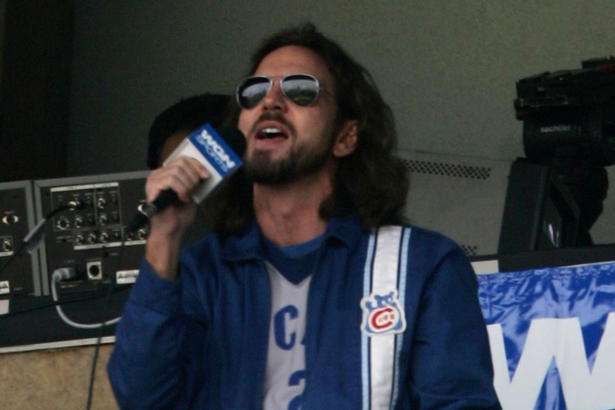 """Eddie Vedder singing """"Take Me Out To The Ball Game"""" during the 7th-inning stretch, May 14, 2006"""