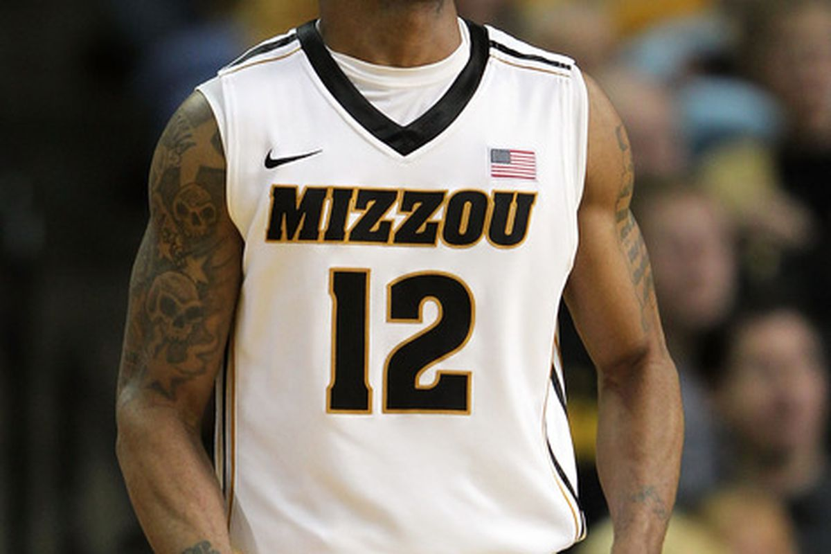 COLUMBIA, MO - JANUARY 28:  Marcus Denmon #12 of the Missouri Tigers reacts after scoring during the game against the Texas Tech Red Raiders on January 28, 2012 at Mizzou Arena in Columbia, Missouri.  (Photo by Jamie Squire/Getty Images)