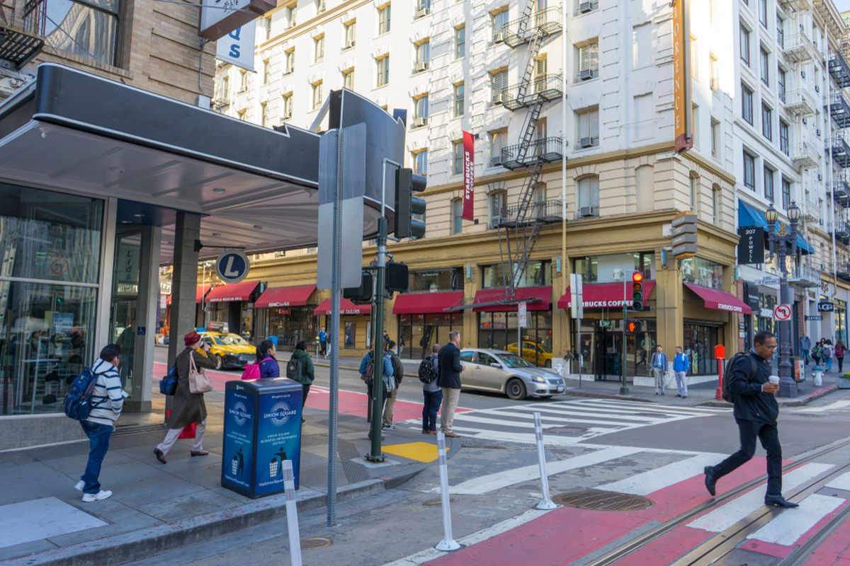 A busy street in downtown San Francisco.