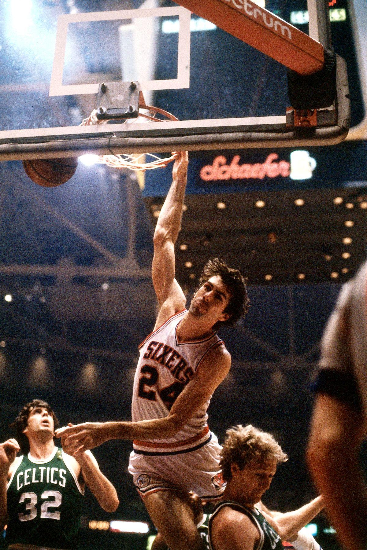 Bobby Jones dunk over Bird