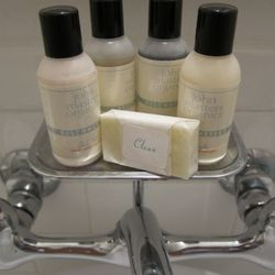 Organic products in the bathrooms.