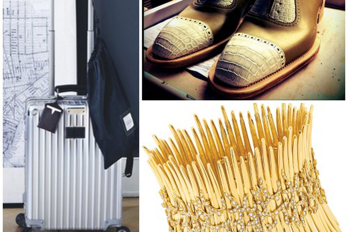 """Photos, clockwise from left: <a href=""""http://instagram.com/p/uax00nkXjI/?modal=true"""">@rimowa_official</a>/Instagram; <a href=""""http://instagram.com/p/tk9VG9jrXV/?modal=true"""">@santoniofficial</a>/Instagram; <a href=""""http://www.hueb.com/collections/tri"""