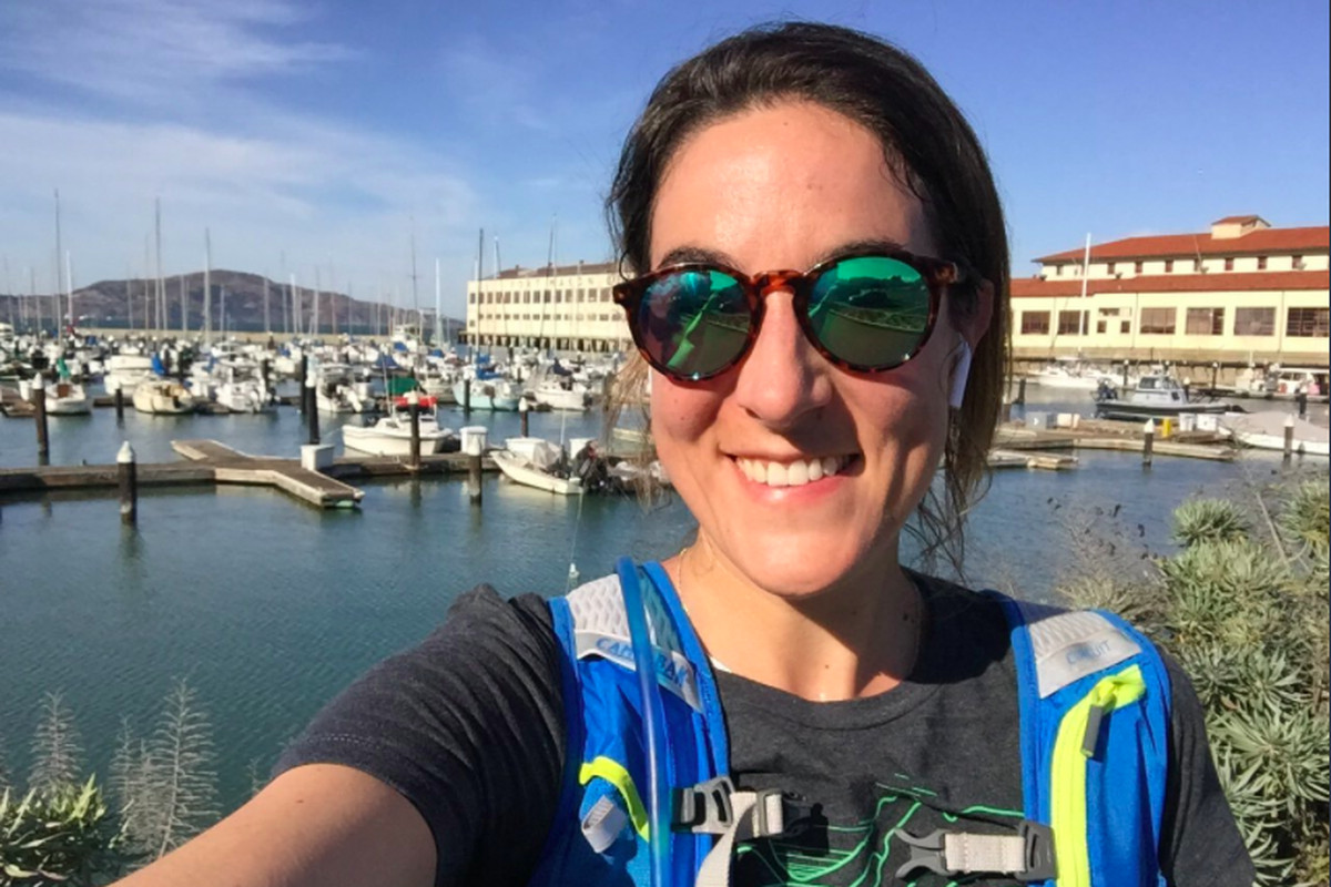 Twitter M&A boss Jessica Verrilli takes a selfie in front of the marina beside Fort Mason in San Francisco