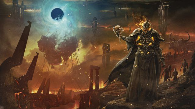 A city chained to the first level of the Nine Hells. In the foreground a demon burns inside black lacquered armor. From Baldur's Gate: Descent Into Avernus from Wizards of the Coast.