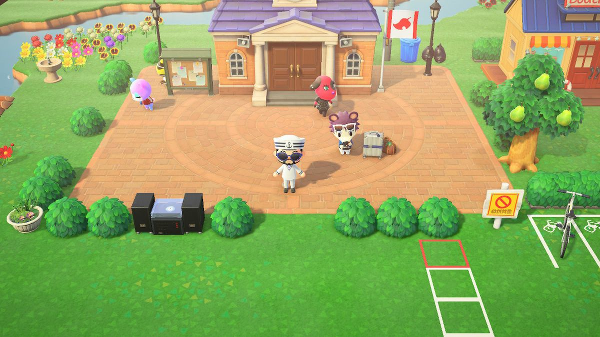 A modded landscape photo of an Animal Crossing: New Horizons town square.