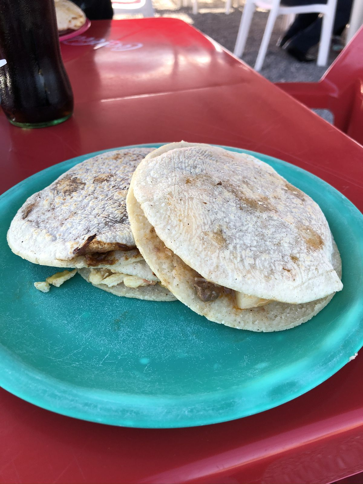 Gorditas from Gorditas Fanny. A tortilla slit open to form a picket and stuffed with meats and/or vegetables.