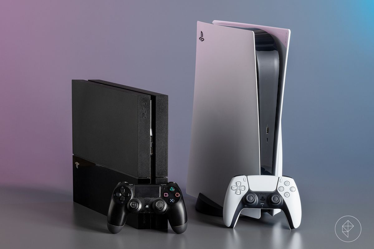 At left, a PlayStation 4 with a DualShock 4 controller. At right, a PlayStation 5 with a Dualsense controller.