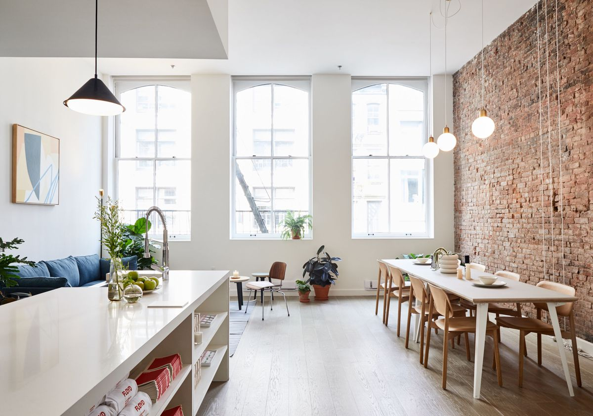Kitchen table with pendant lights above