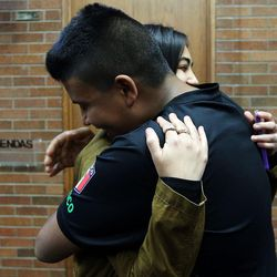 Former Mountain View High School student Stephany Mijares and her brother, Joseh, a current student at the school, hug after a press conference in Orem on Tuesday, Nov. 15, 2016, after five students were stabbed in an apparent attack by a 16-year-old boy at the school.