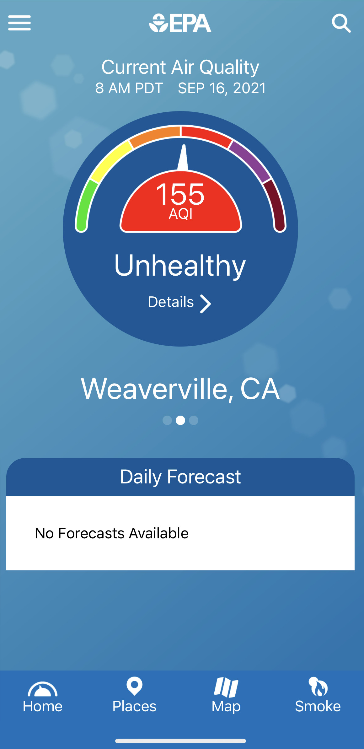 A screenshot of the air quality index meter reading 155, indicating unhealthy air.