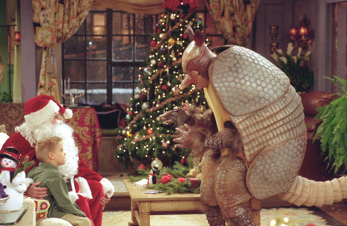 Ross dressed as the Holiday Armadillo on an episode of Friends.