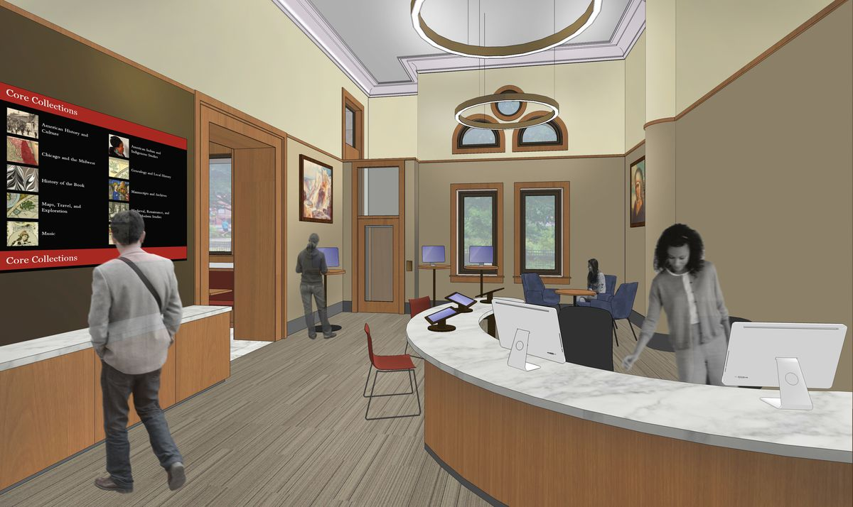 An artist's rendering of the Newberry Library's new first-floor information center.   COURTESY NEWBERRY LIBRARY