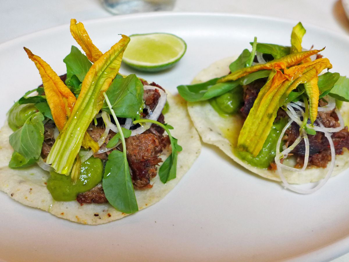 Two beautiful tacos on on oblong white plate like paintings, with squash flower orangeish on top.