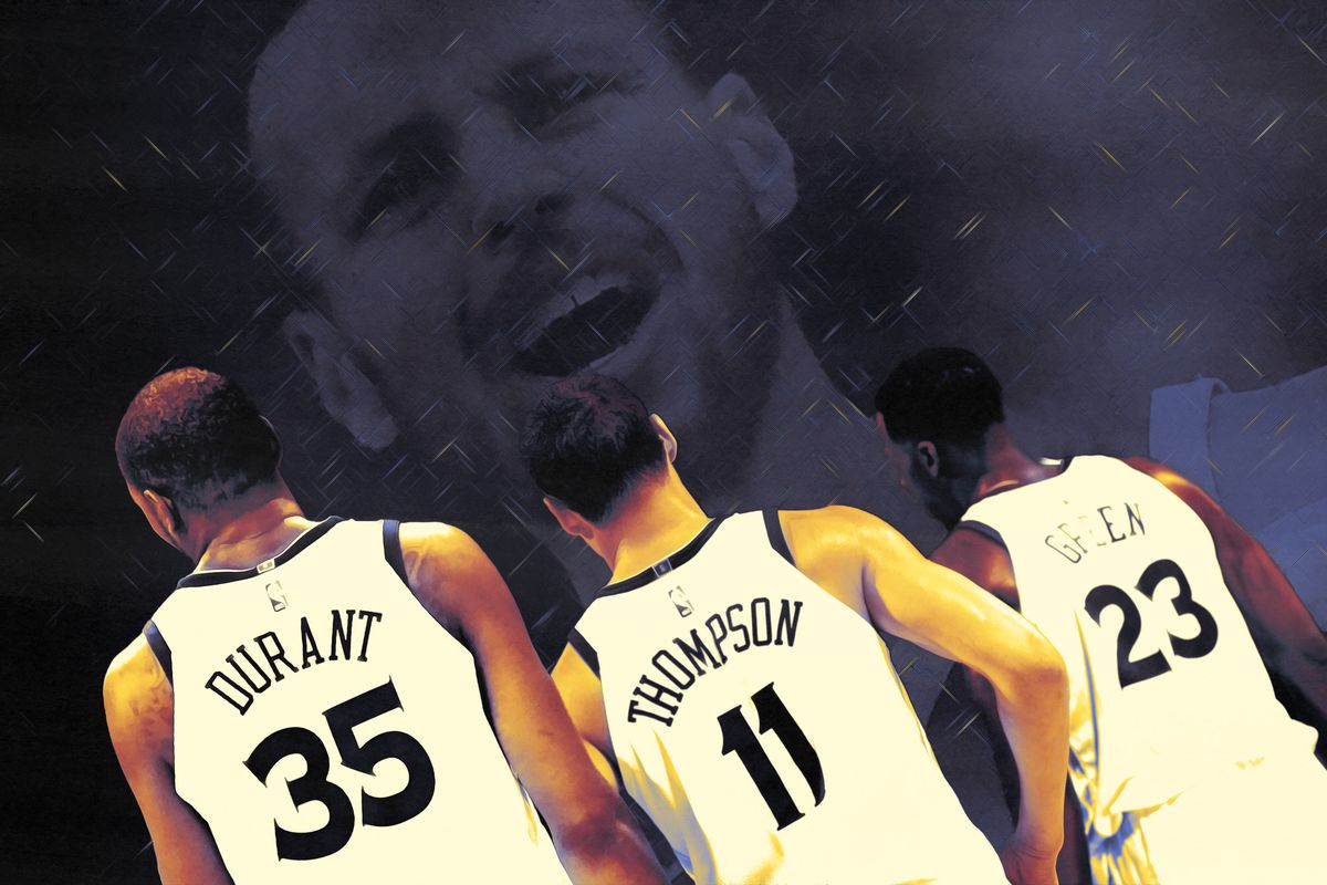 The backs of Kevin Durant, Klay Thompson, and Draymond Green with a picture of Steph Curry in the background