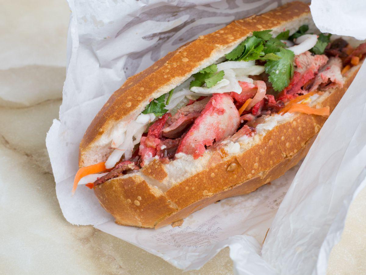 A loaded banh mi sandwich