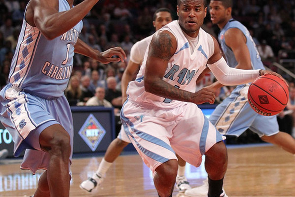 NEW YORK - MARCH 30:  Stevie Mejia #1 of the Rhode Island Rams dribbles the ball against the North Carolina Tar Heels at Madison Square Garden on March 30, 2010 in New York, New York.  (Photo by Nick Laham/Getty Images)