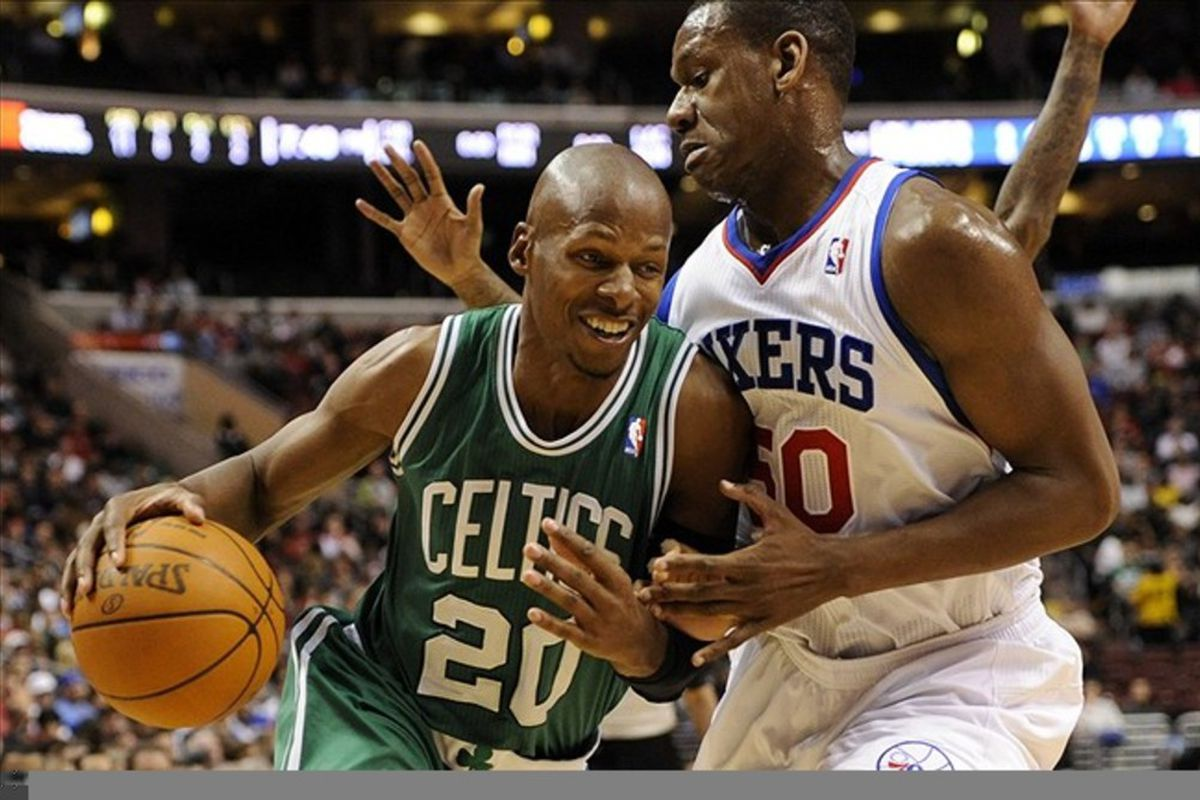 Mar 07, 2012; Philadelphia, PA, USA; Boston Celtics guard Ray Allen (20) is defended by Philadelphia 76ers forward Lavoy Allen (50) during the second quarter at the Wells Fargo Center. Mandatory Credit: Howard Smith-US PRESSWIRE