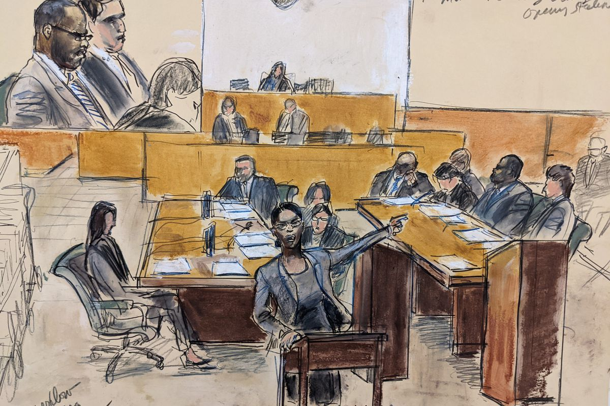 In this courtroom artist's sketch made from a video screen monitor of a Brooklyn courtroom, defendant R. Kelly, top left, listens as Assistant U.S. Attorney Maria Melendez, center, makes opening arguments, Wednesday, Aug. 18, 2021 in New York.