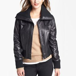"""<strong>DKNY</strong> Knit Trim Leather Bomber Jacket, <a href=""""http://shop.nordstrom.com/s/dkny-knit-trim-leather-bomber-jacket/3525321?origin=keywordsearch-personalizedsort&contextualcategoryid=0&fashionColor=&resultback=146&cm_sp=personalizedsort-_-sea"""