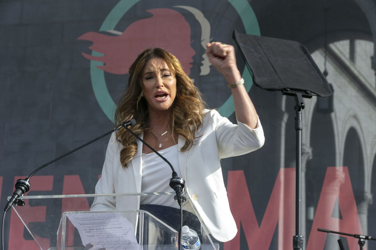 In this Jan. 18, 2020, file photo Caitlyn Jenner speaks at the 4th Women's March in Los Angeles. Jenner has been an Olympic hero, a reality TV personality and a transgender rights activist.