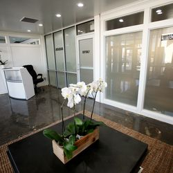 The front reception area of Dragonfly Wellness in Salt Lake City as it prepares to open as the first of Utah's 14 medical cannabis pharmacies on Monday, March 2, 2020.