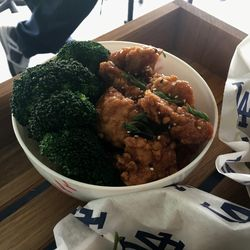 Orange chicken bowl. (Note, final formulation is undecided, may or may not come with broccoli.)
