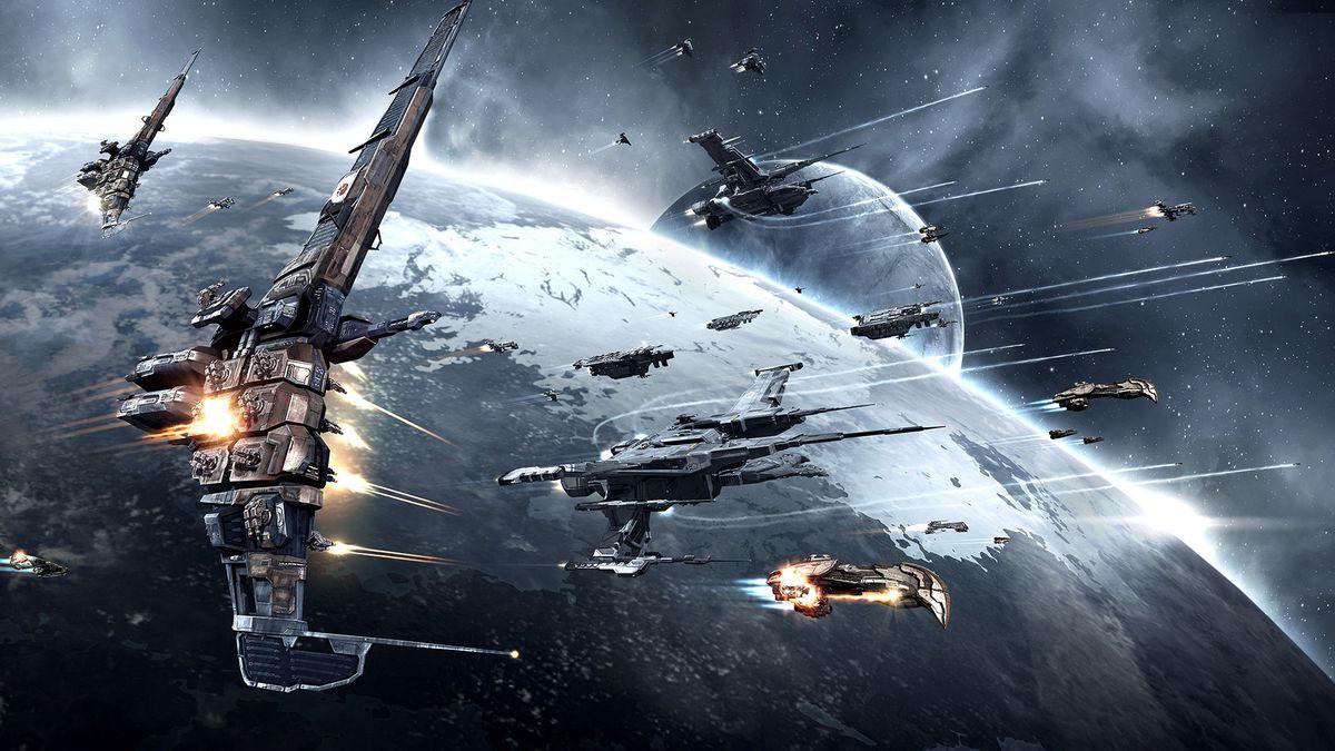 Eve Online: Citadel - ships flying over a planet