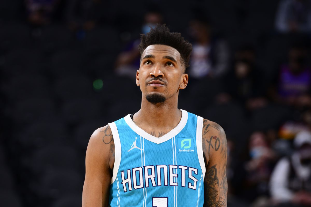 Malik Monk of the Charlotte Hornets looks on during the game against the Phoenix Suns on February 24, 2021 at Talking Stick Resort Arena in Phoenix, Arizona.