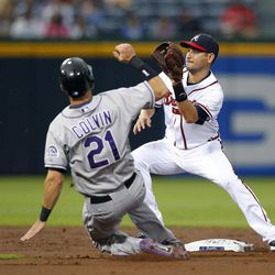 Colorado Rockies' Tyler Colvin (21) slides before being tagged out at second base by Atlanta Braves shortstop Paul Janish on an attempted steal during the second inning of a baseball game Tuesday, Sept. 4, 2012, in Atlanta.
