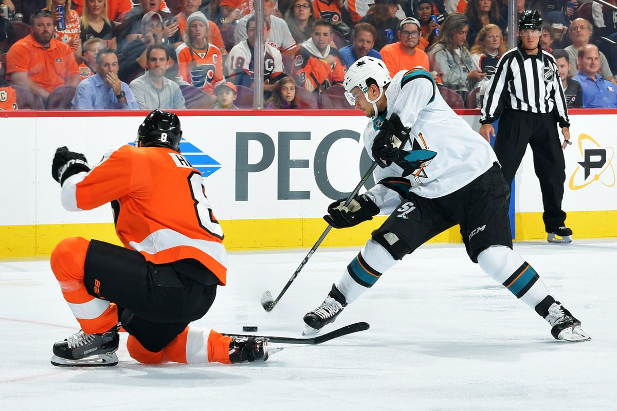 PHILADELPHIA, PA - OCTOBER 09: Kevin Labanc #62 of the San Jose Sharks lines up to take a shot past Robert Hagg #8 of the Philadelphia Flyers at the Wells Fargo Center on October 9, 2018 in Philadelphia, Pennsylvania.
