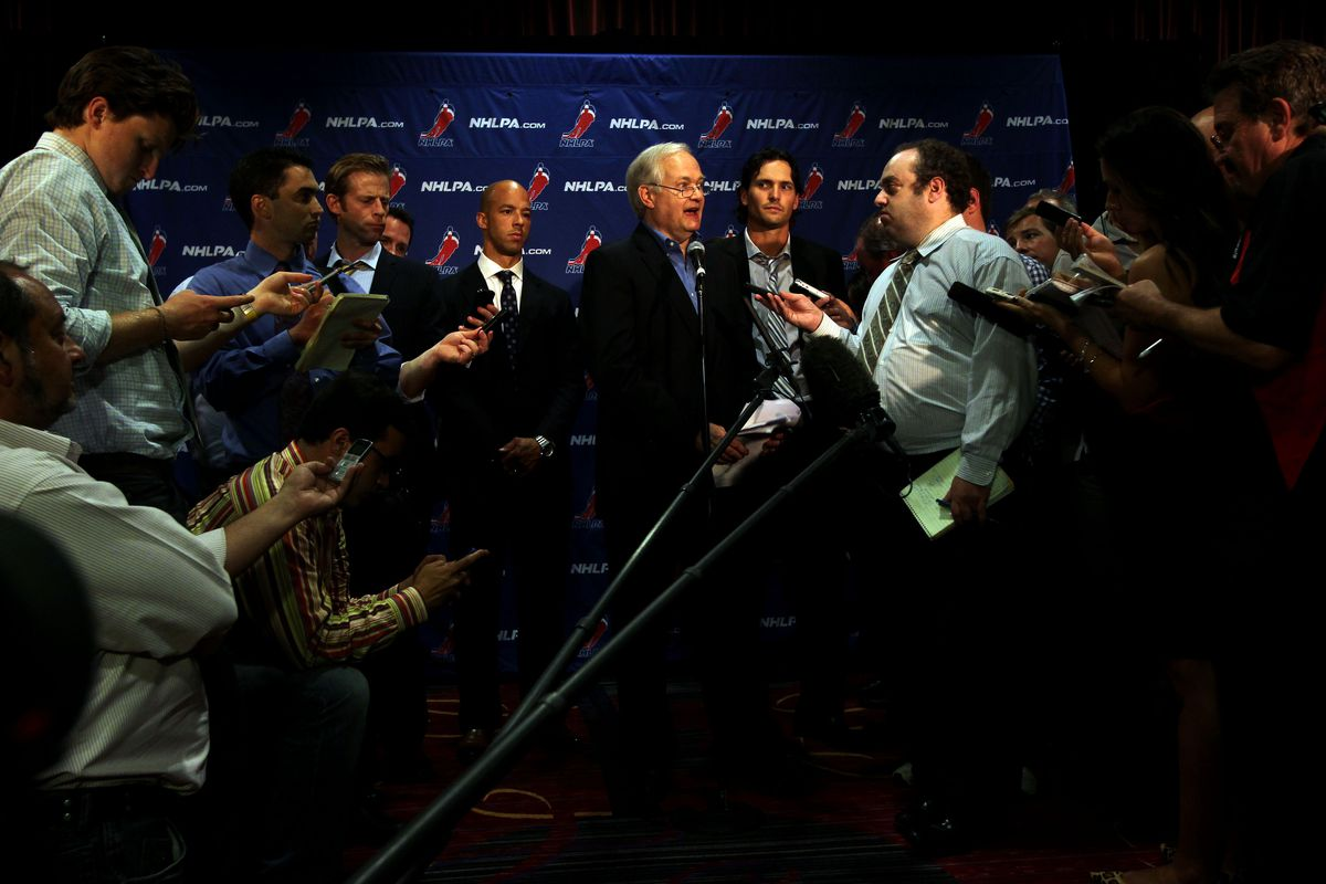 September 12, 2012; New York, NY, USA; NHLPA executive director Don Fehr speaks during a press conference at the 2012 NHLPA summer player meetings at the Marriott Marquis. Mandatory Credit: Brad Penner-US PRESSWIRE
