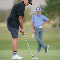 Union High School's Tytan Birchell competes in the 3A boys state championship at Oquirrh Hills Golf Course in Tooele on Thursday, Oct. 7, 2021.