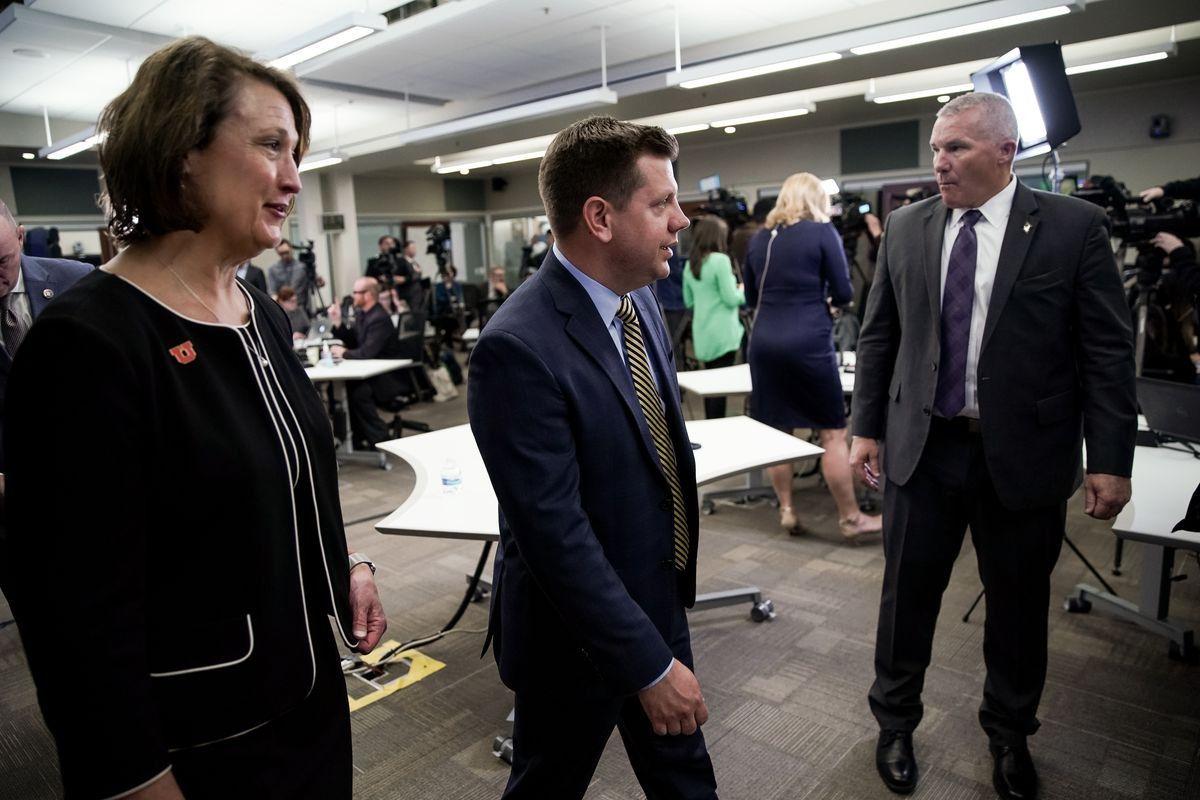 University of Utah President Ruth Wakins, left, and Steve Starks, president of the Utah Jazz, leave the Emergency Operations Center at the Capitol in Salt Lake City on Thursday, March 12, 2020, after a press conference about the spread of COVID-19.