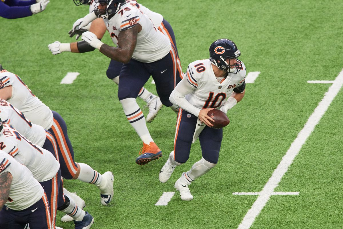 Mitchell Trubisky of the Chicago Bears drops back with the ball against the Minnesota Vikings during the game at U.S. Bank Stadium on December 29, 2019 in Minneapolis, Minnesota.
