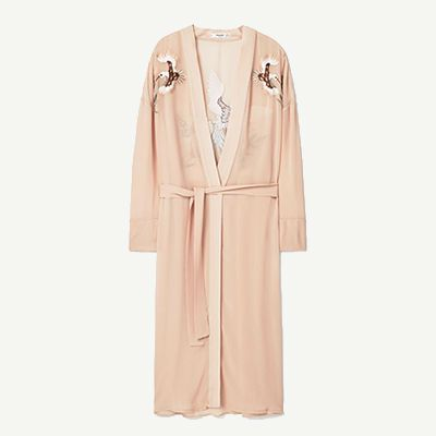 Pink robe coat with embroidered bird detailing.
